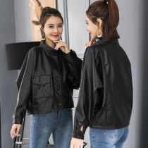 leather clothing Summer of 2018 White black SML Century fragrance Short paragraph Loose Long sleeve Commuting other Bat sleeve 033 Button 96% and above PU Pure electricity supplier (only online sales)