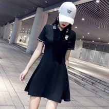 Dress Summer 2020 White, black S,M,L,XL,2XL Mid length dress singleton  Short sleeve commute Polo collar High waist Solid color Socket A-line skirt routine Others 18-24 years old Type A Korean version 51% (inclusive) - 70% (inclusive) cotton