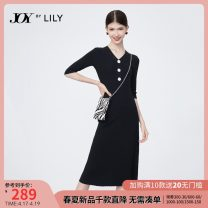 Dress Autumn 2020 XS S M L XL longuette singleton  elbow sleeve commute V-neck middle-waisted Solid color Socket A-line skirt routine 25-29 years old Type A Lily / Lily Ol style Button 31% (inclusive) - 50% (inclusive) other polyester fiber Same model in shopping mall (sold online and offline)