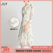 Dress Summer 2020 White a 150/76A/XS 155/80A/S 160/84A/M 165/88A/L 170/92A/XL longuette singleton  Long sleeves commute Half open collar High waist Decor Socket Big swing routine Others 25-29 years old Type X Lily / Lily Ol style Bandage printing 120229C7974 91% (inclusive) - 95% (inclusive) other
