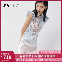 Dress Spring 2021 401 blue 401 blue a S M L Short skirt singleton  Sleeveless commute stand collar middle-waisted scenery zipper Pencil skirt 25-29 years old Type X Lily / Lily Ol style zipper 121119C7902401 51% (inclusive) - 70% (inclusive) other cotton
