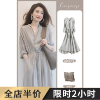 Dress Spring 2021 Grey black S M L XL 2XL 3XL 4XL Mid length dress singleton  Short sleeve Sweet other High waist Solid color other Big swing routine Others 18-24 years old Type A Grass seed wood clothes 1-15X2034-B-- More than 95% polyester fiber Polyester 100% solar system
