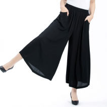 Casual pants Black, 80780889901902903905906 XL,2XL,3XL,4XL,5XL Summer 2021 Ninth pants Wide leg pants High waist commute Thin money 40-49 years old 81% (inclusive) - 90% (inclusive) Other / other Cotton blended fabric ethnic style pocket cotton Asymmetry