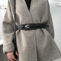 Belt / belt / chain Double skin leather Black, brown female belt Versatile Single loop Pin buckle Glossy surface soft surface 5cm alloy alone Aifanpin 93cm,100cm