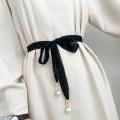 Belt / belt / chain cloth Black, off white female belt Sweet Single loop soft surface 2cm Bows, lace Aifanpin 150cm