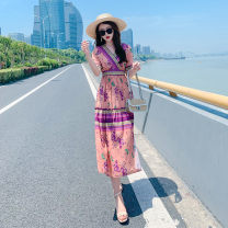 Dress Summer 2020 Pink flower S M L XL XXL XXXL Mid length dress singleton  Short sleeve Sweet V-neck High waist Decor Socket Big swing other Others 25-29 years old Type A Eurovalley printing OG20TS166 More than 95% Chiffon polyester fiber Polyester 100% Bohemia Pure e-commerce (online only)