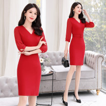 Dress Spring 2020 Scarlet sapphire black M L XL XXL 3XL longuette singleton  three quarter sleeve commute V-neck middle-waisted Solid color Socket One pace skirt routine Others 30-34 years old Type A Eurovalley zipper OG20BL2010 51% (inclusive) - 70% (inclusive) cotton Pure e-commerce (online only)
