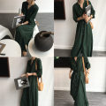 Dress Summer of 2019 Dark green, brick orange S code, M code longuette singleton  Short sleeve commute stand collar High waist Solid color Single breasted A-line skirt routine 18-24 years old Type A Korean version Strap, button
