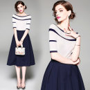 Dress Summer of 2018 blue S,M,L,XL,2XL,3XL Mid length dress Two piece set Short sleeve commute One word collar middle-waisted stripe zipper A-line skirt routine Others Type A Retro 31% (inclusive) - 50% (inclusive) knitting