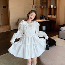 Dress Spring 2021 White, black Average size Short skirt singleton  Long sleeves 18-24 years old