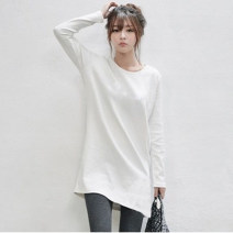 T-shirt White (medium length), black (medium length) S,M,L,XL,2XL,3XL,4XL,5XL Autumn of 2019 Long sleeves Crew neck easy Medium length routine commute polyester fiber 86% (inclusive) -95% (inclusive) 18-24 years old Korean version youth Solid color Other / other Long sleeves