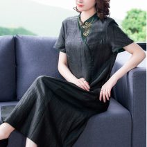 Dress Summer 2021 black 2XL 3XL 4XL L XL Mid length dress singleton  Short sleeve commute stand collar Solid color 40-49 years old Youranxu / youranxuan Retro 8837-1 More than 95% other Other 100%