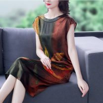 Dress Spring 2021 Picture color L XL 2XL 3XL 4XL longuette singleton  Short sleeve commute Crew neck Decor routine 35-39 years old Youranxu / youranxuan Retro 8673-1 More than 95% other Other 100%