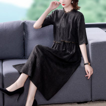 Dress Summer 2021 black L XL 2XL 3XL Mid length dress singleton  Short sleeve commute Loose waist Solid color other 40-49 years old Type A Youranxu / youranxuan lady Three dimensional decoration More than 95% other Other 100% Pure e-commerce (online only)