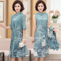 Middle aged and old women's wear Summer 2021 Green blue pink L XL 2XL 3XL 4XL fashion Dress easy Two piece set Decor 40-49 years old Socket thin stand collar Medium length routine Ziji Lotus leaf edge other Other 100% 96% and above Pure e-commerce (online only) A button Medium length Chiffon
