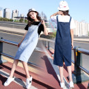 Dress Summer of 2018 XS,S,M,L,XL,2XL Mid length dress singleton  Sleeveless Sweet One word collar High waist Solid color Socket A-line skirt other straps 18-24 years old Type A pocket 51% (inclusive) - 70% (inclusive) Denim cotton college