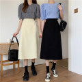 skirt Spring 2021 Average size Black, apricot longuette commute High waist A-line skirt Solid color Type A 2176# More than 95% Ten thousand Maple control maple polyester fiber