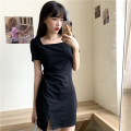 Dress Summer 2021 black M,L,XL Mid length dress singleton  Short sleeve commute One word collar High waist Solid color Socket One pace skirt routine camisole Type H Ten thousand Maple control maple Korean version 2105# 91% (inclusive) - 95% (inclusive) cotton