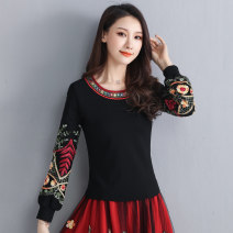 T-shirt black L,XL,2XL,3XL,4XL,5XL Autumn of 2019 Long sleeves Crew neck Self cultivation Regular bishop sleeve commute cotton 51% (inclusive) - 70% (inclusive) 25-29 years old ethnic style Plants and flowers Other / other Embroidery, gauze, stitching
