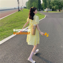 Dress Spring 2021 Yellow, purple S,M,L,XL Middle-skirt singleton  Short sleeve commute Crew neck High waist Solid color Socket Princess Dress puff sleeve camisole 25-29 years old Type H Korean version Bowknot, fold, lace, splicing, three-dimensional decoration, resin fixation other acrylic fibres