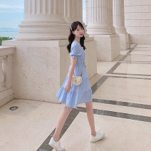 Dress Summer 2020 Sky blue, pink, violet, sapphire, black S,M,L,XL Mid length dress singleton  Short sleeve commute square neck High waist Solid color Socket Cake skirt puff sleeve Others 18-24 years old Type A Korean version Ruffle, fold, Auricularia auricula, lace, resin fixation Crepe de Chine