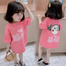T-shirt Pink back doll T-shirt skirt, purple back doll T-shirt skirt, yellow back doll T-shirt skirt Other / other 80cm,90cm,100cm,110cm,120cm,130cm female summer Short sleeve Crew neck Korean version There are models in the real shooting nothing cotton Cartoon animation Cotton 90% polyester 10%