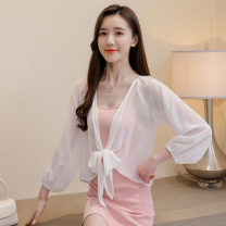Lace / Chiffon Summer 2020 Pink White Black S M L XL 2XL Long sleeves Versatile Cardigan singleton  easy have cash less than that is registered in the accounts V-neck Solid color routine Diary Best SN301564 Frenulum 96% and above Polyester 100% Pure e-commerce (online only) polyester fiber
