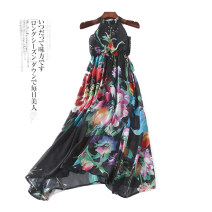 Dress Summer 2020 Black flowers, yellow flowers 7,8,10,12,14,16 Mid length dress singleton  Sleeveless Elastic waist Decor Hanging neck style 18-24 years old More than 95% other other