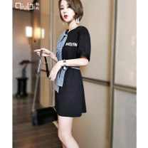 Dress Summer 2021 White jeans black jeans M L Mid length dress singleton  Short sleeve commute Crew neck High waist other Socket A-line skirt routine Others 30-34 years old Type H Qiubi Korean version Patchwork printing 91% (inclusive) - 95% (inclusive) cotton