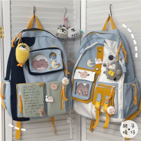 Backpack polyester fiber Other / other brand new in zipper leisure time Double root Japan and South Korea soft youth Soft handle Solid color Yes Computer pocket polyester fiber Color contrast yes 14 inches Three dimensional bag