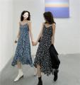 Dress Spring 2021 Blue, black M, L Miniskirt singleton  Sleeveless commute V-neck High waist Broken flowers Socket Ruffle Skirt other camisole 18-24 years old Type A Korean version 30071# 31% (inclusive) - 50% (inclusive) other polyester fiber