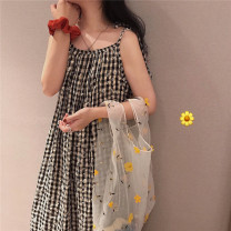 Nightdress Other / other Black and white Average size Sweet camisole Leisure home Middle-skirt summer lattice youth other printing More than 95% polyester cotton 200g and below