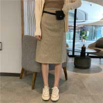 skirt Autumn of 2019 S,M,L Kaqige (without waist bag), green lattice (without waist bag) 18-24 years old Other / other