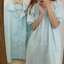 Pajamas / housewear set lovers Other / other Average size Women's wear, men's wear cotton Short sleeve Solid color