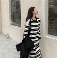 Dress Winter 2020 Picture color Average size Miniskirt singleton  Long sleeves commute Crew neck Loose waist stripe Socket other routine Others 18-24 years old Type H Korean version 81% (inclusive) - 90% (inclusive) knitting polyester fiber