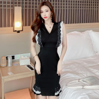 Dress Spring 2021 black S,M,L Short skirt singleton  Sleeveless commute V-neck High waist Solid color zipper Ruffle Skirt other Others 18-24 years old Type A Others Lace two point two zero 51% (inclusive) - 70% (inclusive) polyester fiber
