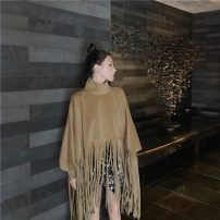 woolen coat Autumn 2020 Average size Brown, black polyester 81% (inclusive) - 90% (inclusive) Medium length Long sleeves commute other stand collar Solid color Cape type Korean version 18-24 years old tassels