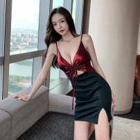 Dress Winter 2020 Red, black S,M,L Mid length dress singleton  Sleeveless commute V-neck High waist One pace skirt camisole 18-24 years old Type A Korean version Bow, zipper twelve point seven 30% and below
