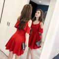 Dress Summer 2021 Red, black S,M,L,XL,2XL Short skirt singleton  Short sleeve commute High waist Solid color Lotus leaf sleeve camisole 18-24 years old Type A Others Korean version Lotus leaf edge Three point five 51% (inclusive) - 70% (inclusive)