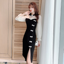 Dress Autumn 2020 black S,M,L,XL,2XL Mid length dress singleton  Long sleeves commute Crew neck High waist Solid color zipper One pace skirt pagoda sleeve Others 25-29 years old Type H Retro 51% (inclusive) - 70% (inclusive) other