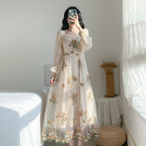Dress Spring 2020 Picture color [tmall quality] XS,S,M,L,XL longuette singleton  Long sleeves commute square neck High waist Decor zipper Big swing bishop sleeve Others 25-29 years old Type A Retro Embroidery nine point one one polyester fiber