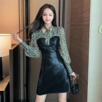 Dress Autumn 2020 Black [tmall quality] S,M,L,XL Short skirt singleton  Long sleeves commute other High waist Leopard Print zipper One pace skirt bishop sleeve Others 25-29 years old T-type Other / other Korean version Splicing Eight point eight other other