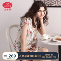 Nightdress Darley Lotus color d242201-054 red d242201-029 beige t292202-032 yellow d242201-038 t272120-011 160(M) 165(L) 170(XL) 175(XXL) Sweet Short sleeve Leisure home Middle-skirt summer Plants and flowers youth Crew neck silk printing More than 95% silk T252201 Spring 2015 Mulberry silk 100%