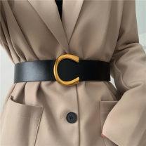 Belt / belt / chain Pu (artificial leather) Black, Khaki female belt Versatile Single loop Youth, youth Smooth button Geometric pattern Glossy surface 4.7cm alloy alone Liu Wuwei Big C buckle waist bandwidth