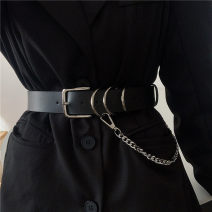 Belt / belt / chain other black currency belt Versatile Single loop Youth, youth Pin buckle other Glossy surface 3.1cm alloy Naked, chain Liu Wuwei Small chain 28cm punk belt