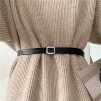 Belt / belt / chain Double skin leather Black, brown, khaki female belt Versatile Single loop Youth, youth Smooth button Geometric pattern soft surface 1.6cm alloy Liu Wuwei Silver fine buckle leather