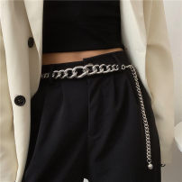 Belt / belt / chain Metal silvery female belt Versatile Single loop Youth, youth a hook Geometric pattern Glossy surface 1cm alloy Bare body, hollow out Liu Wuwei Small to large in the small waist chain