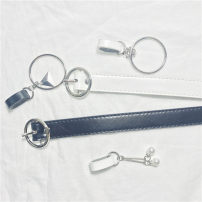 Belt / belt / chain Pu (artificial leather) Round button white double pearl, round button white circle triangle, round button white circle flower, round button black double pearl, round button black circle triangle, round button black circle flower female belt Versatile Single loop Youth, youth other