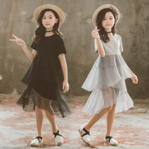Dress Gray, black female Other / other 110cm,120cm,130cm,140cm,150cm,160cm Cotton 60% other 40% summer Korean version Short sleeve Solid color Cotton blended fabric Irregular Class B 2, 3, 4, 5, 6, 7, 9, 10, 11, 12, 13 Chinese Mainland