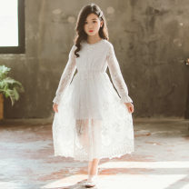 Dress White, White Sleeveless lace skirt female Keninke 120cm,130cm,140cm,150cm,160cm,165cm Cotton 40% other 60% spring and autumn Korean version Petticoat Solid color Cotton blended fabric A-line skirt Chinese Mainland